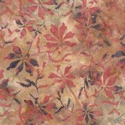 Moda Color Daze Batiks by Laundry Basket Quilts - 4478 -  Dusky Pink on Burnt Orange, Floral Batik  - 42240 16 - Cotton Fabric